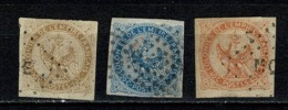 France 1859/65  Yv 3, 4, 5 Obl. Cat. Yv € 40,00 - Aigle Impérial