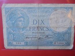 FRANCE 10 FRANCS 1939 CIRCULER - 10 F 1916-1942 ''Minerve''