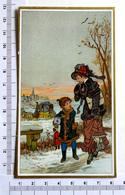 CHROMO LITHOGRAPHIE ....SCÈNE HIVERNALE...FEMME..ENFANT DILIGENCE - Vieux Papiers