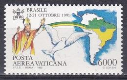 Vatikan Vatican 1992 Religion Christentum Weltreisen Papst Päpste Popes Johannes Paul II. Brasilien Brazil, Mi. 1074 ** - Ungebraucht