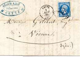 Lettre Du 1 Aout 1866 Au Départ De CETTE Pour Vienne En Isère - 1849-1876: Periodo Classico
