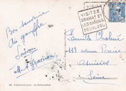 Timbre MARIANNE De Gandon . 4f 50 Bleu Outremer  SEUL S / Cpsm 10x15 PADIRAC (46) Le Débarcadère - France