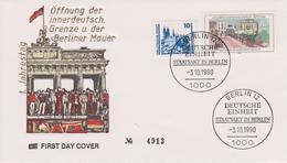 Deutschland 1990. 3. Oktober 1990 Staatsakt Zur Deutschen Einheit In Berlin. Sonderstempel, Zudruck Öffnung Der Mauer - History
