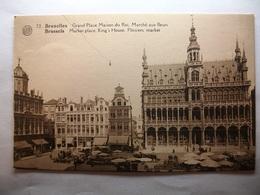 Carte Postale Belgique - Bruxelles - Grand'Place Maison Du Roi,Marché Aux Fleurs  ( Petit Format Non Circulée ) - Panoramische Zichten, Meerdere Zichten
