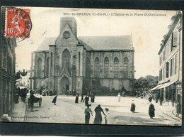 CPA - SAINT BRIEUC - L'Eglise Et La Place St Guillaume, Animé - Saint-Brieuc