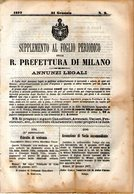B 2533  -  Supplemento Al Foglio Periodico Della R. Prefettura Di Milano. Annunzi Legali, 1877 - Decreti & Leggi
