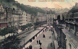 Karlsbad - Kreuzstraße Und Mühlbrunnen- Quai 1913 - Tschechische Republik