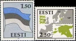 Estonia 1991 Definitives Flag And Map 2v MNH - Stamps