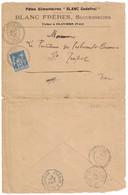 """1897 - CAD FACTEUR-BOITIER De CLAVIERS VAR + AMBULANT BLEU """" GRASSE À DRAGUIGNAN """" Sur LETTRE SAGE ENTETE BLANC GODEFROI - Marcophilie (Lettres)"""