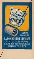 Carte Publicitaire Des Bouchonneries Réunies à Bruxelles Bouchon Pour Champagne Vin Bière Pharmacie Bull Dog 18x10cm - Autres Collections
