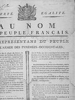 PLACARD /AU NOM DU PEUPLE FRANCAIS -LES REPRESENTANS DU PEUPLE PRES DES PYRENEES OCCIDENTALES(Bayonne,19 GERMINAL An3) - Historische Dokumente