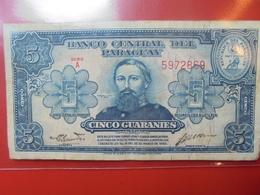 PARAGUAY 5 GUARANIES 1952 CIRCULER - Paraguay