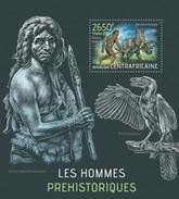 CENTRAFRICAINE 2013 SHEET PREHISTORIC MEN PREHISTORIC ANIMALS DINOSAURS HOMMES PREHISTORIQUES DINOSAURIER DINOS Ca13401b - Central African Republic
