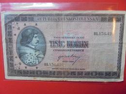 TCHECOSLOVAQUIE 1000 KORUN 1945 CIRCULER - Tchécoslovaquie