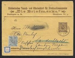 1894 - PRIVATE GANZSACHE STREIFBAND WÜRTTEMBERG - DIE BRIEFMARKE In Die SCHWEIZ - Wurttemberg