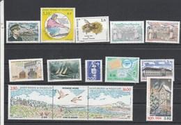 Saint Pierre Et Miquelon 1994 Yvert  N°  592 à 598 + 604A + 605 à 608  ** - St.Pierre & Miquelon