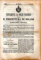 B 2535  -  Supplemento Al Foglio Periodico Della R. Prefettura Di Milano. Annunzi Legali, 1877 - Decreti & Leggi