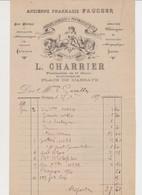 Facture 1/2 Format . Ancienne Pharmacie FAUCHER .L.CHARRIER , Successeur .Place De L'Abbaye .CORBIGNY - France