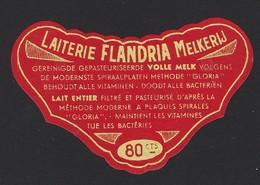 ETIKET * LAITERIE FLANDRIA MELKERIJ * 8 X 4.5 CM - Publicités