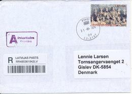 Latvia Registered Cover Sent To Denmark Pinki 31-5-2016 Single Franked - Latvia