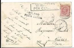 Guerre 14 18 Italie PONTE Griffe De Censure + Milano - Poste étranger 1916  ...G - 8. Occupazione 1a Guerra