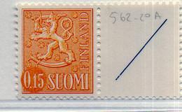PIA -  FINLANDIA -  1972  : Posta Ordinaria - Leone Rampante - Nuova Moneta  -  (Yv 535aB ) - Unused Stamps