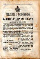 B 2536  -  Supplemento Al Foglio Periodico Della R. Prefettura Di Milano. Annunzi Legali, 1877 - Decreti & Leggi