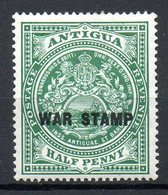 AMERIQUE CENTRALE - ANTIGUA - (Colonie Britannique) - 1916-18 - N° 38 - 1/2 P. Vert - (Surchargé : WAR STAMP En Noir) - Antigua And Barbuda (1981-...)