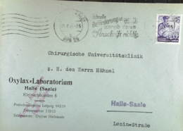 DDR: Orts-Brief Mit 16 Pf 5-Jahrplan I MWSt. Halle(Saale) 19.8.53 Abs: Oxylax-Laboratorium Halle Knr: 369 - [6] República Democrática