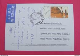 2015 KOSOVO, AIRMAIL  Postcard Send From ZUR To PRISTINA, RARE. Stamp: FOLKLOR RAPSODES. PROPAGANDA! - Kosovo