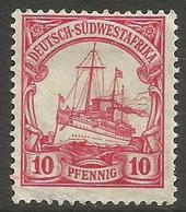 German SW Africa - 1901 Kaiser's Yacht 10pf MH *   Mi 13  Sc 15 - Colony: German South West Africa