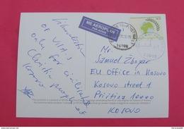 2015 KOSOVO, AIRMAIL Postcard Send From PRIZREN To PRISTINA, RARE. Stamp: EARTH'S DAY - Kosovo