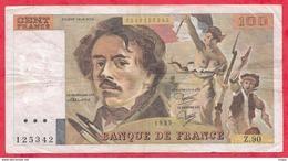 """100 Francs """"Delacroix"""" 1985---F/TTB+---Série Z.90 - 100 F 1978-1995 ''Delacroix''"""