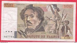 """100 Francs """"Delacroix"""" 1986---F/TTB+---Série E.102 - 1962-1997 ''Francs''"""
