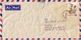 BM570 Kenya Long Envelope Air Mail, Kenya - Austria 1961, Poststempel Kisumu, Kleine Beschädigung - Kenya (1963-...)