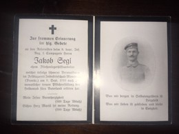 Sterbebild Wk1 Bidprentje Avis Décès Deathcard IR8 Feldlaz. Industrieschule MONTMEDY Montmédy Block 5 Aus Ergolding - 1914-18