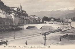 CP GRENOBLE ISERE 38 - VUE SUR L'ISERE ET ET QUARTIER SAINT LAURENT - Grenoble