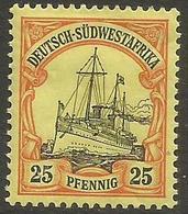 German SW Africa - 1901 Kaiser's Yacht 25pf MH *   Mi 15  Sc 17 - Colony: German South West Africa