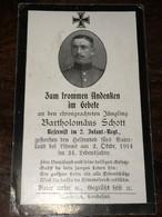 Sterbebild Wk1 Bidprentje Avis Décès Deathcard IR2 LIHONS 2. Oktober 1914 - 1914-18