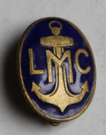 Ancienne Broche Insigne émaillée LMC Ligue Maritime Et Coloniale Navire Bateau Ancre Marine - Bateaux