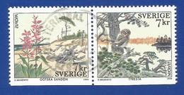 Schweden / Sverige 1999  Mi.Nr. 2122 / 2123 DU , EUROPA CEPT  Natur- Und Nationalparks -  Gestempelt / Used / (o) - 1999