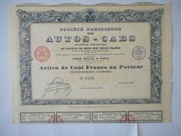 Parisienne Des AUTOS CABS 1925 PARIS - Aandelen