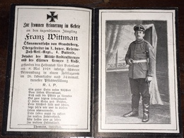 Sterbebild Wk1 Bidprentje Avis Décès Deathcard 1. Reserve Fus AR Mai 1918 WAMBRECHIES Block 1 Grab 170 Aus Grandsberg - 1914-18