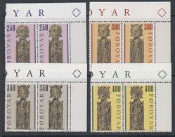 Faroe Islands 1984 Olafkirche Kirkjubour 4v  (pair, Corner) ** Mnh (42807B) - Faeroër