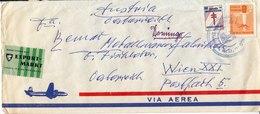 "BM587 Dominikanische Republik Envelope Air Mail, Santo Domingo - Vienna, 1963, Vignette ""Kontakt Vermittelt Durch EXPORT - Dominican Republic"