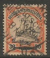 German SW Africa - 1901 Kaiser's Yacht 30pf Used   Mi 16  Sc 18 - Colony: German South West Africa