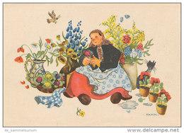 Großmutter / Großmütterchen / Katze / Blumen / Krug (D-A09) - Fairy Tales, Popular Stories & Legends