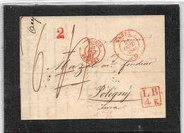 """1843.- LETTRE DE BASEL A POLIGNY.  MARQUE ENCADRÉE """"LB. 4 K"""". DATEUR DE FRONTIÈRE ROUGE BELFORT + TAXES 2 ET 6. - ...-1845 Prefilatelia"""