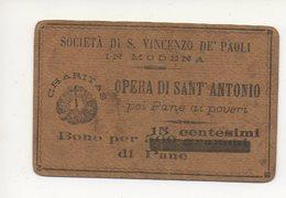 MODENA S. VINCENZO DE PAOLI TESSERA BUONO 15 CENTESIMI PANE AI POVERI #43 - Monete (rappresentazioni)