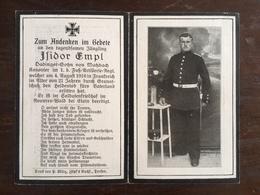 Sterbebild Wk1 Bidprentje Avis Décès Deathcard 1. FUSS Ar. BRIEY Block 3 Grab 279 Aus Matzbach - 1914-18
